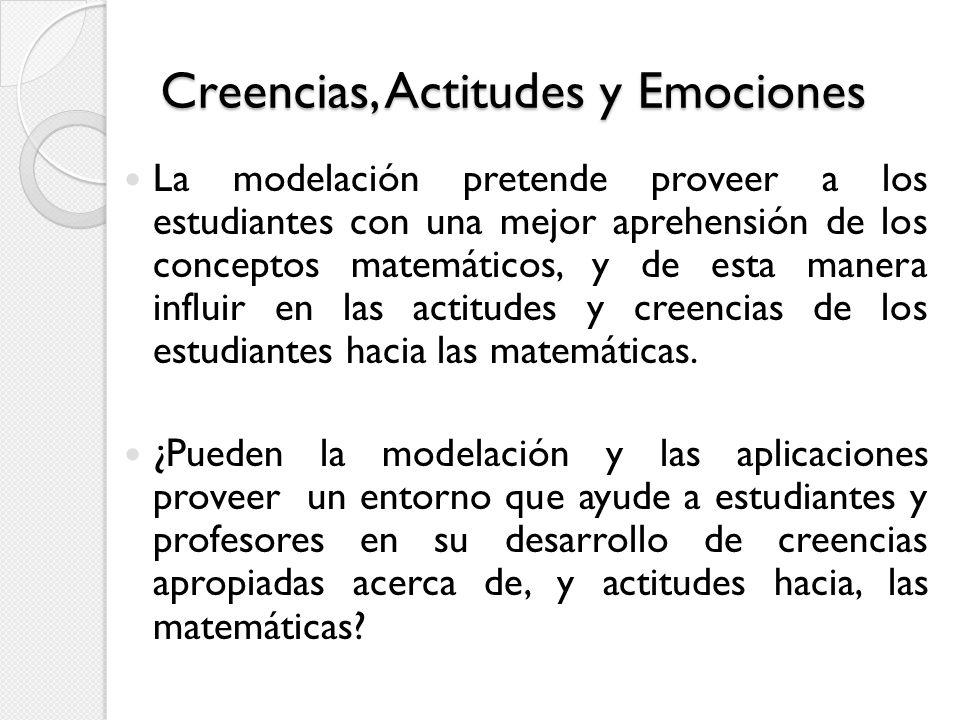 Creencias, Actitudes y Emociones La modelación pretende proveer a los estudiantes con una mejor aprehensión de los conceptos matemáticos, y de esta ma
