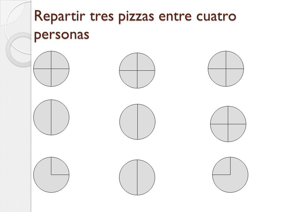 Repartir tres pizzas entre cuatro personas