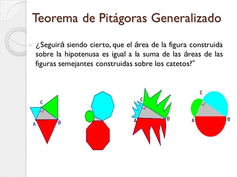 Teorema de Pitágoras Generalizado ¿ Seguir á siendo cierto, que el á rea de la figura construida sobre la hipotenusa es igual a la suma de las á reas