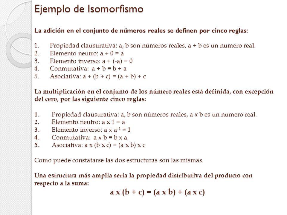 Ejemplo de Isomorfismo La adición en el conjunto de números reales se definen por cinco reglas: 1. Propiedad clausurativa: a, b son números reales, a