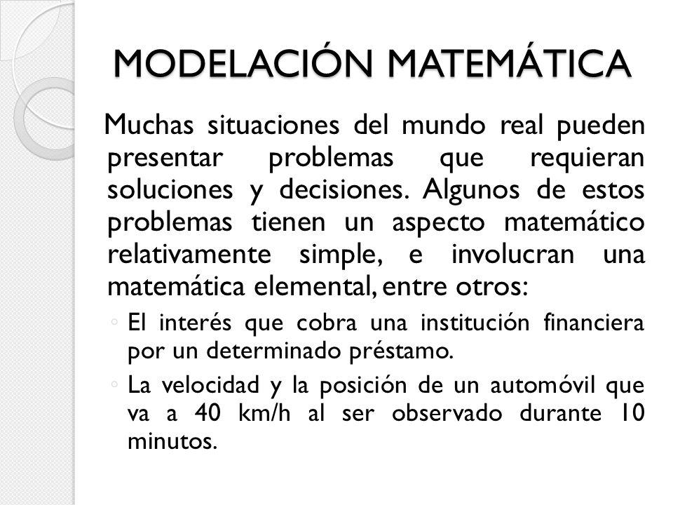 MODELACIÓN MATEMÁTICA Muchas situaciones del mundo real pueden presentar problemas que requieran soluciones y decisiones. Algunos de estos problemas t