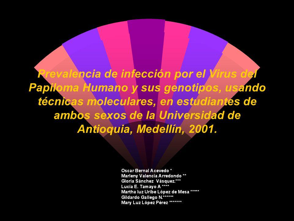 Prevalencia de infección por el Virus del Papiloma Humano y sus genotipos, usando técnicas moleculares, en estudiantes de ambos sexos de la Universida