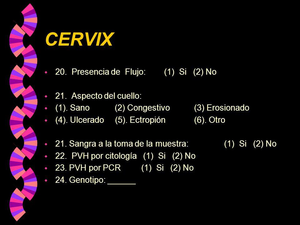 CERVIX w 20. Presencia de Flujo: (1) Si (2) No w 21. Aspecto del cuello: w (1). Sano (2) Congestivo(3) Erosionado w (4). Ulcerado (5). Ectropión(6). O
