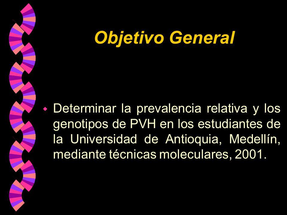 Objetivo General w Determinar la prevalencia relativa y los genotipos de PVH en los estudiantes de la Universidad de Antioquia, Medellín, mediante téc
