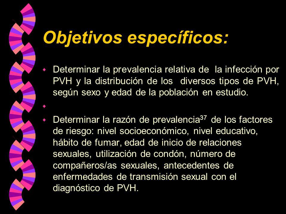 Objetivos específicos: w Determinar la prevalencia relativa de la infección por PVH y la distribución de los diversos tipos de PVH, según sexo y edad