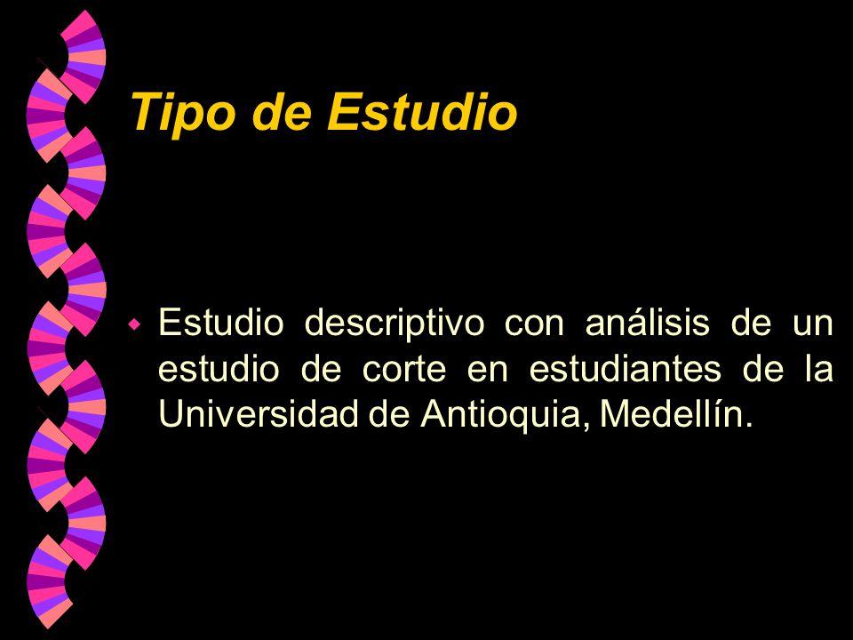 Tipo de Estudio w Estudio descriptivo con análisis de un estudio de corte en estudiantes de la Universidad de Antioquia, Medellín.