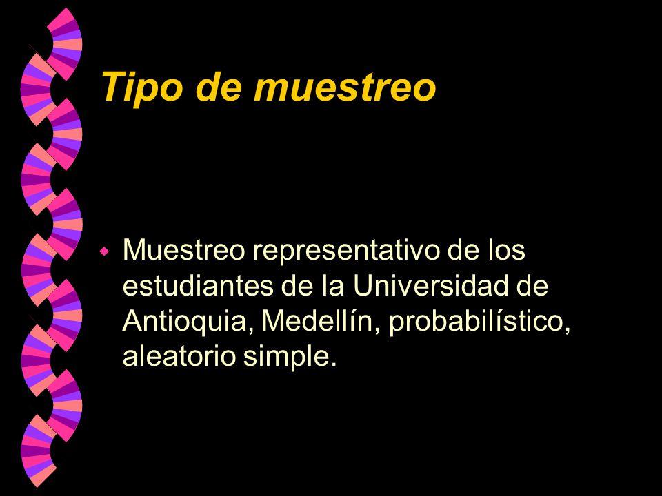 Tipo de muestreo w Muestreo representativo de los estudiantes de la Universidad de Antioquia, Medellín, probabilístico, aleatorio simple.