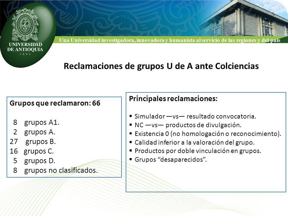 Una Universidad investigadora, innovadora y humanista al servicio de las regiones y del país Reclamaciones de grupos U de A ante Colciencias Grupos que reclamaron: 66 8 grupos A1.
