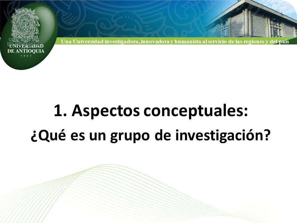 Una Universidad investigadora, innovadora y humanista al servicio de las regiones y del país CLASIFICACION NACIONAL DE GRUPOS COLCIENCIAS 1.