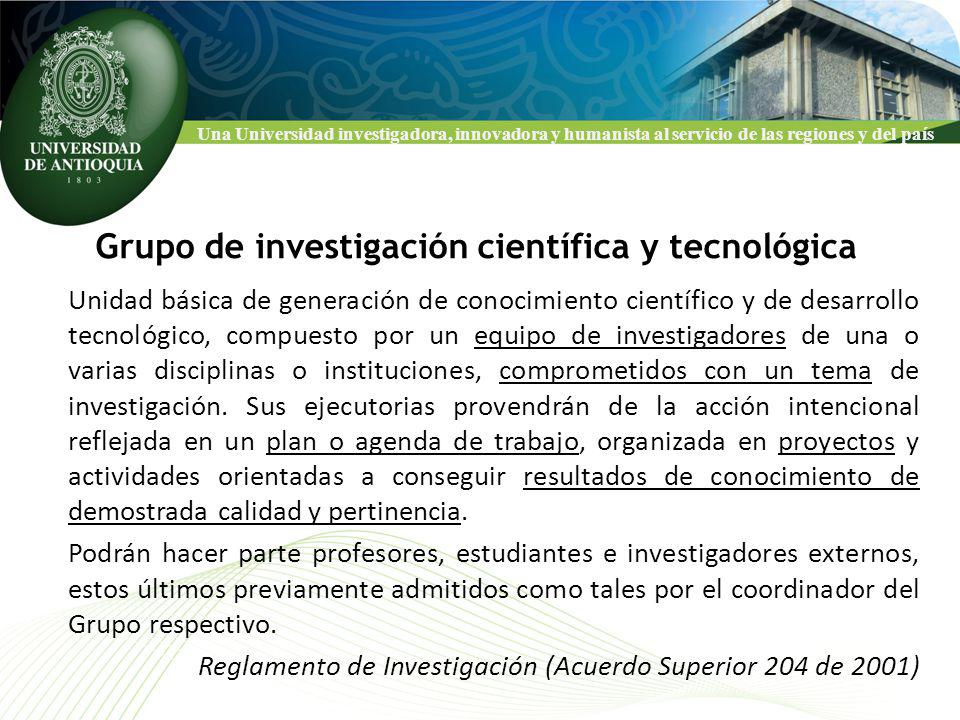 Una Universidad investigadora, innovadora y humanista al servicio de las regiones y del país Grupos que desde 2000 han tenido sostenibilidad