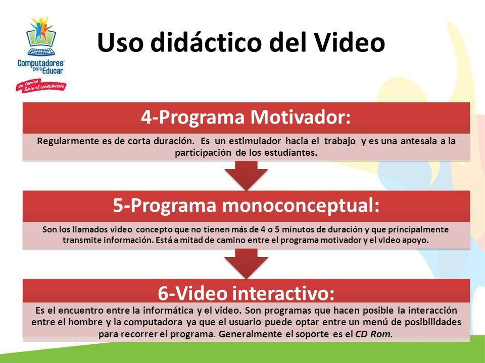 Uso didáctico del Video 6-Video interactivo: Es el encuentro entre la informática y el video. Son programas que hacen posible la interacción entre el