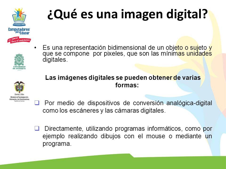 ¿Qué es una imagen digital? Es una representación bidimensional de un objeto o sujeto y que se compone por pixeles, que son las mínimas unidades digit