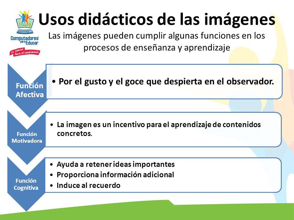 Usos didácticos de las imágenes Las imágenes pueden cumplir algunas funciones en los procesos de enseñanza y aprendizaje Función Afectiva Por el gusto