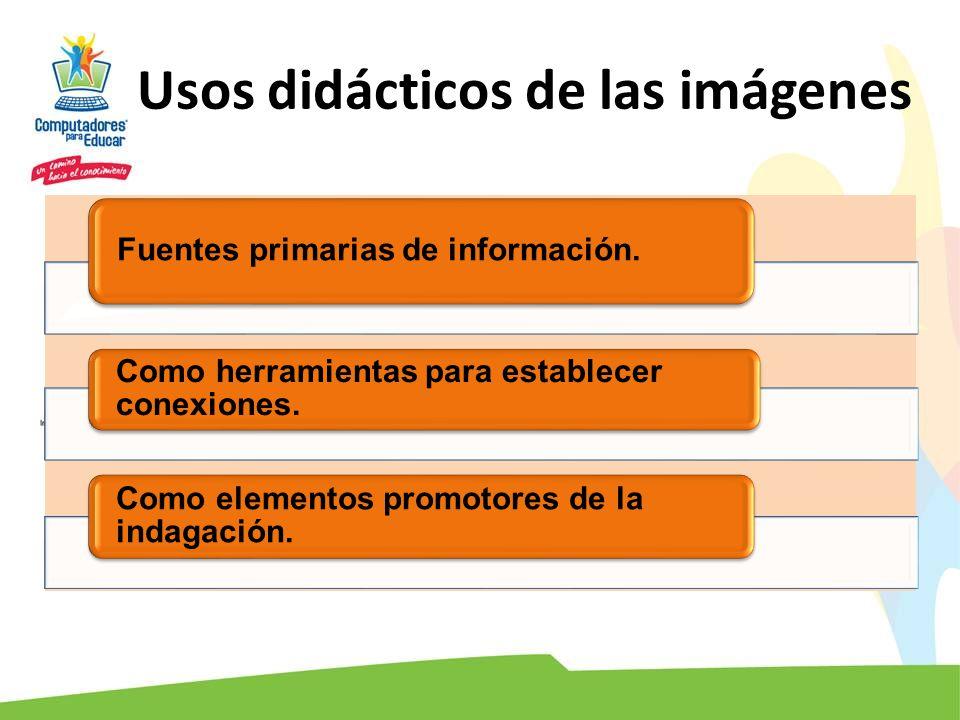 Usos didácticos de las imágenes Fuentes primarias de información. Como herramientas para establecer conexiones. Como elementos promotores de la indaga