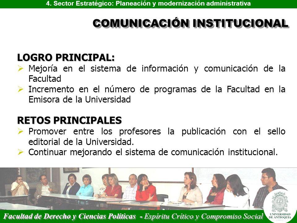 4. Sector Estratégico: Planeación y modernización administrativa LOGRO PRINCIPAL: Mejoría en el sistema de información y comunicación de la Facultad I
