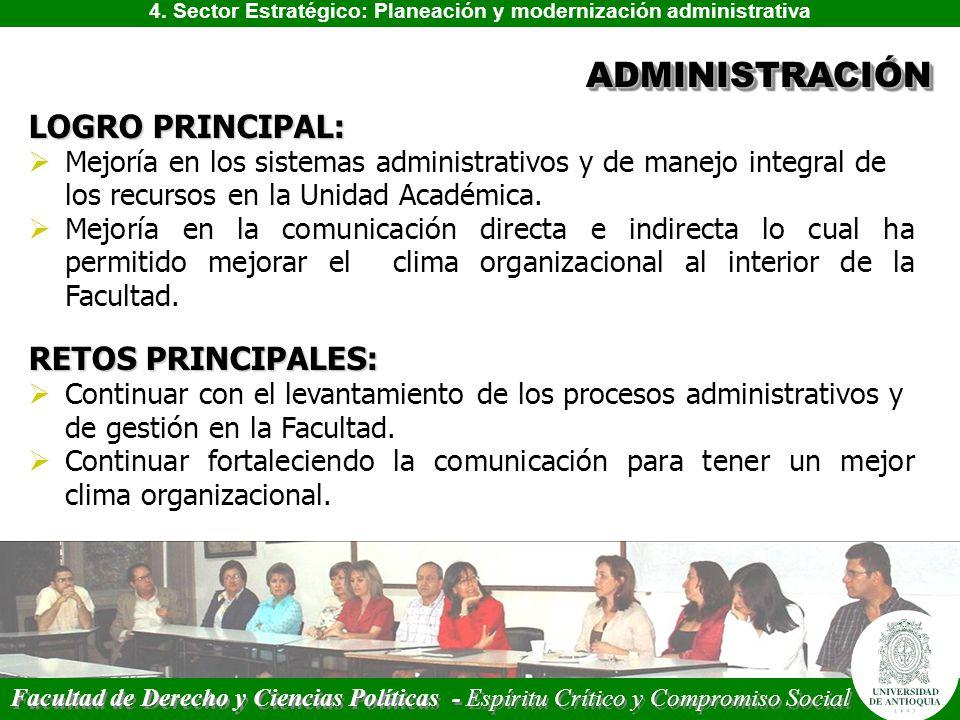 4. Sector Estratégico: Planeación y modernización administrativa ADMINISTRACIÓNADMINISTRACIÓN LOGRO PRINCIPAL: Mejoría en los sistemas administrativos