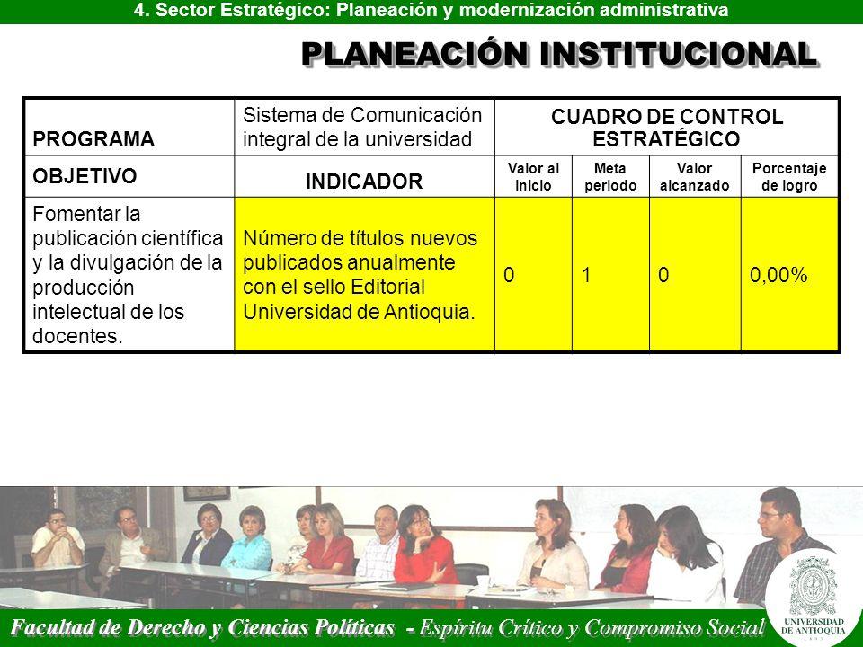 4. Sector Estratégico: Planeación y modernización administrativa PLANEACIÓN INSTITUCIONAL PROGRAMA Sistema de Comunicación integral de la universidad