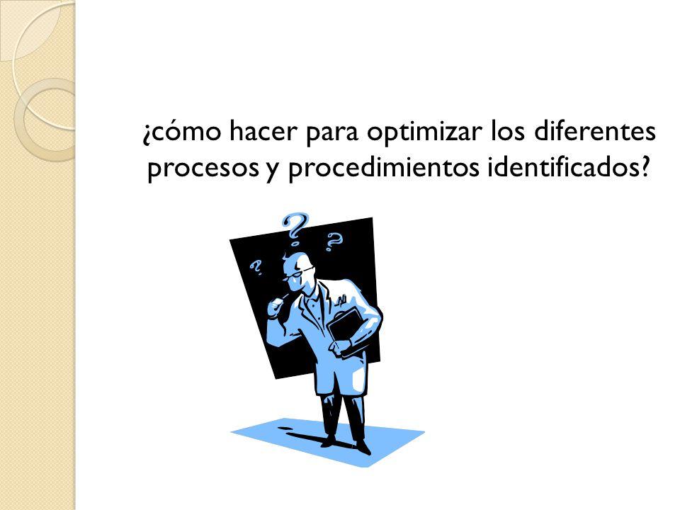 ¿cómo hacer para optimizar los diferentes procesos y procedimientos identificados?