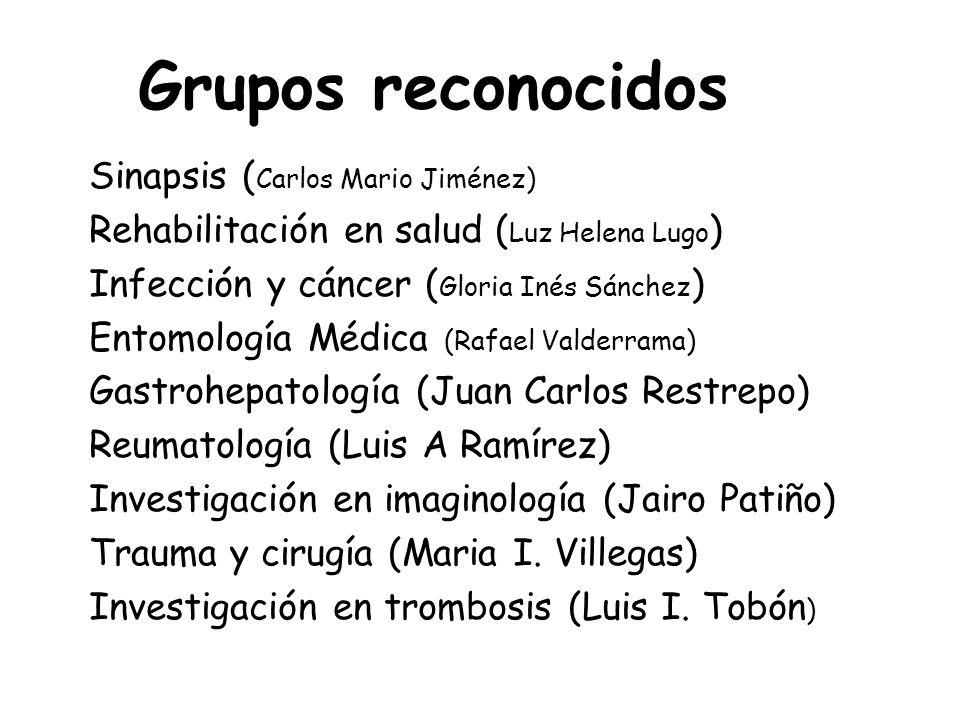 Sinapsis ( Carlos Mario Jiménez) Rehabilitación en salud ( Luz Helena Lugo ) Infección y cáncer ( Gloria Inés Sánchez ) Entomología Médica (Rafael Val