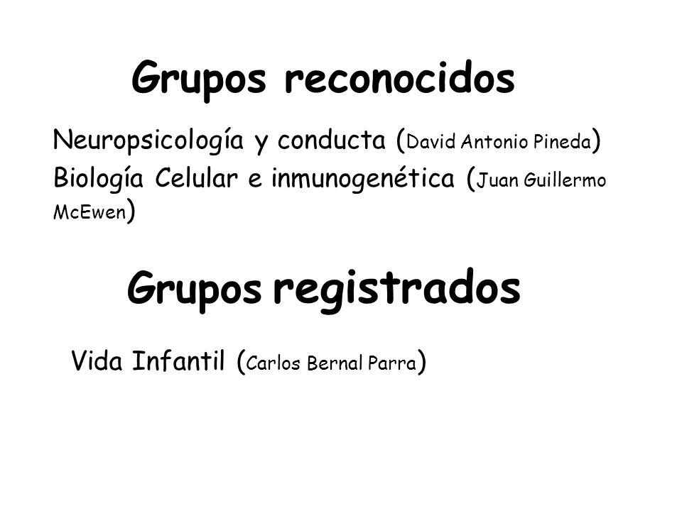 Vida Infantil ( Carlos Bernal Parra ) Grupos registrados Grupos reconocidos Neuropsicología y conducta ( David Antonio Pineda ) Biología Celular e inmunogenética ( Juan Guillermo McEwen )