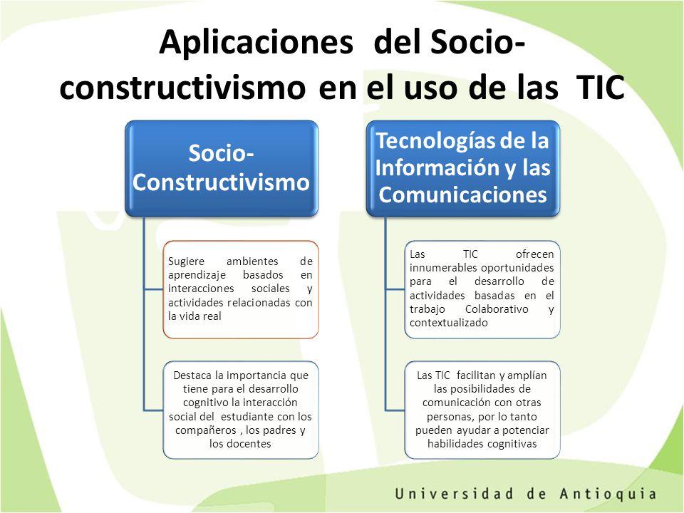 Aplicaciones del Socio- constructivismo en el uso de las TIC Socio- Constructivismo Sugiere ambientes de aprendizaje basados en interacciones sociales