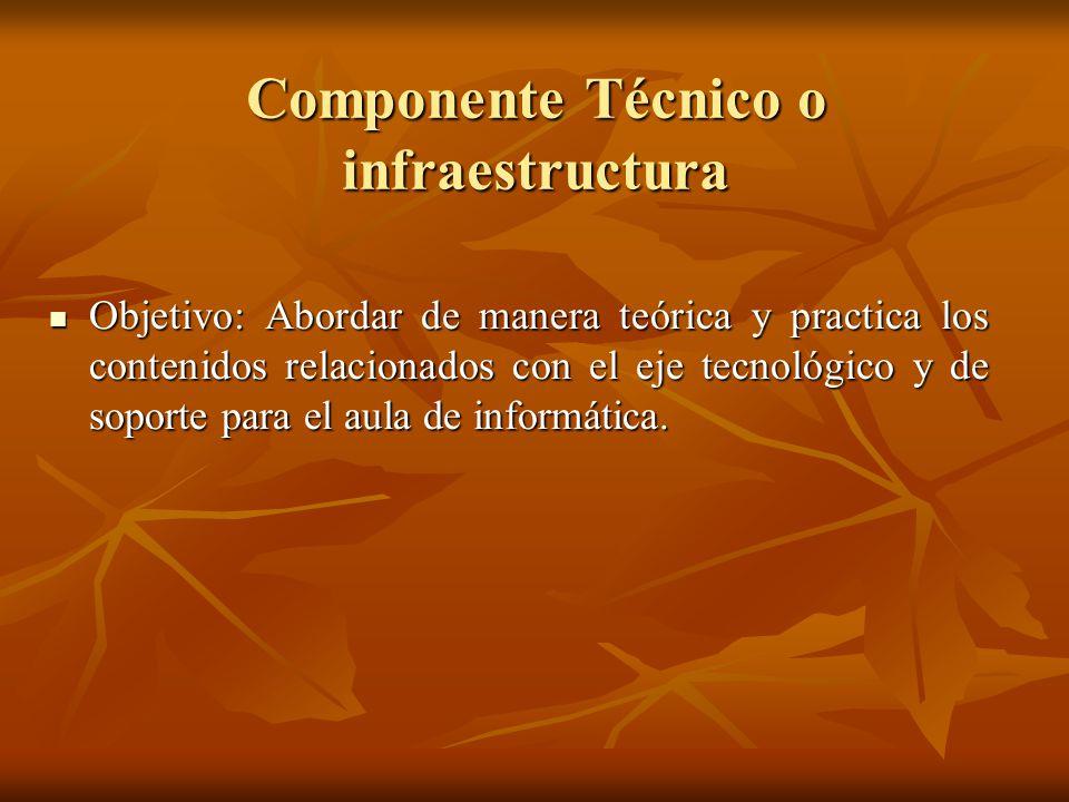 Componente Técnico o infraestructura Objetivo: Abordar de manera teórica y practica los contenidos relacionados con el eje tecnológico y de soporte pa