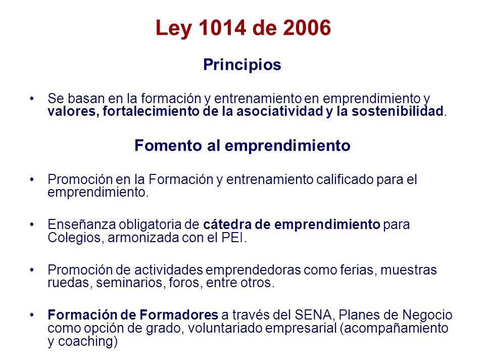 Ley 1014 de 2006 Principios Se basan en la formación y entrenamiento en emprendimiento y valores, fortalecimiento de la asociatividad y la sostenibilidad.