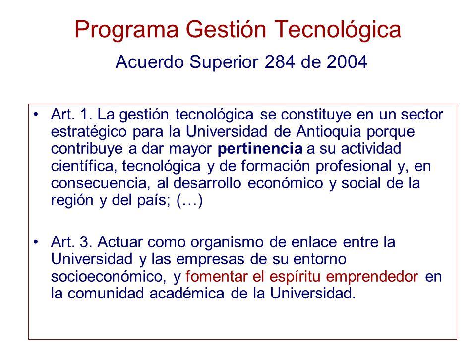 Programa Gestión Tecnológica Acuerdo Superior 284 de 2004 UArt.