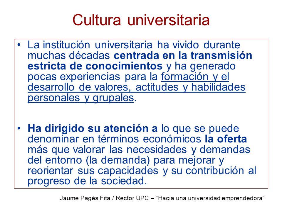 Cultura universitaria La institución universitaria ha vivido durante muchas décadas centrada en la transmisión estricta de conocimientos y ha generado pocas experiencias para la formación y el desarrollo de valores, actitudes y habilidades personales y grupales.