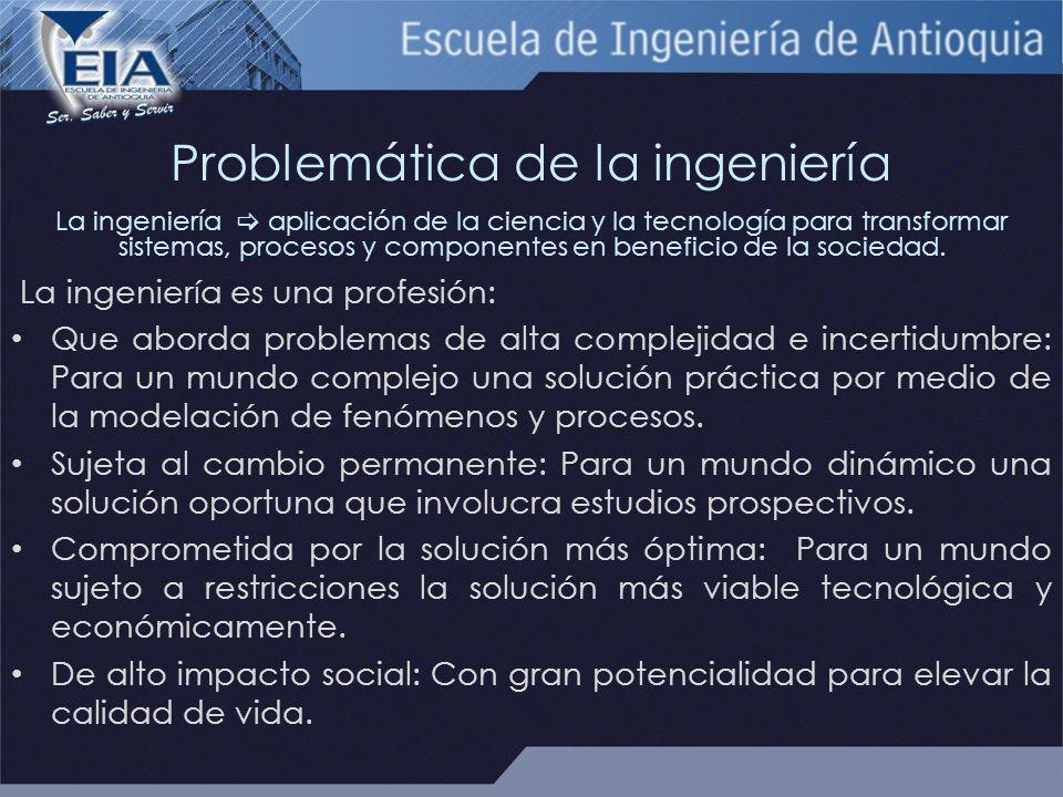 Problemática de la ingeniería La ingeniería aplicación de la ciencia y la tecnología para transformar sistemas, procesos y componentes en beneficio de la sociedad.