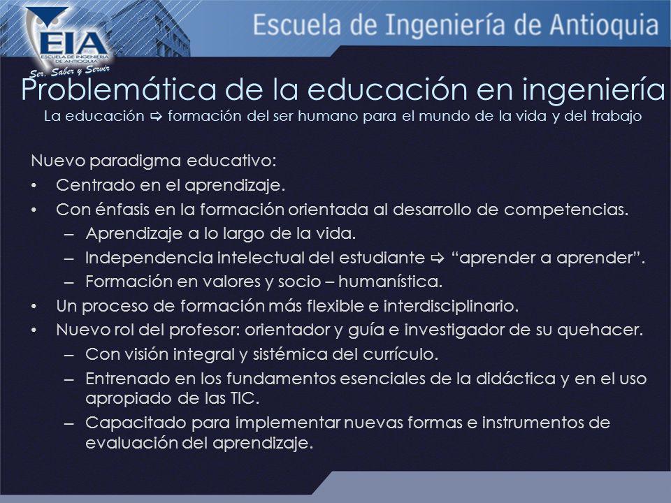 Problemática de la educación en ingeniería La educación formación del ser humano para el mundo de la vida y del trabajo Nuevo paradigma educativo: Centrado en el aprendizaje.