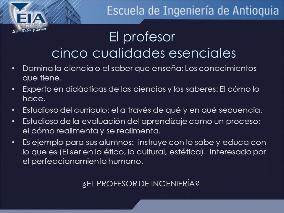 El profesor cinco cualidades esenciales Domina la ciencia o el saber que enseña: Los conocimientos que tiene.