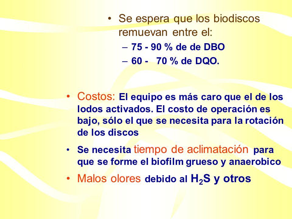 Biodiscos Rotating Biological Contactor (RBC) Consultar: http://www.state.sd.us/denr/DES/P&S/designcriteria/design-10.html http://www.apec-vc.or.jp/co