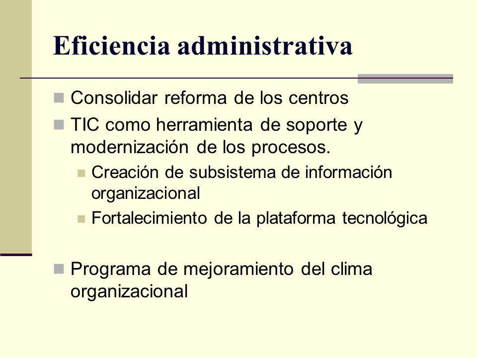 Eficiencia administrativa Consolidar reforma de los centros TIC como herramienta de soporte y modernización de los procesos. Creación de subsistema de