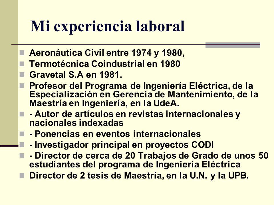 Mi experiencia laboral Aeronáutica Civil entre 1974 y 1980, Termotécnica Coindustrial en 1980 Gravetal S.A en 1981. Profesor del Programa de Ingenierí