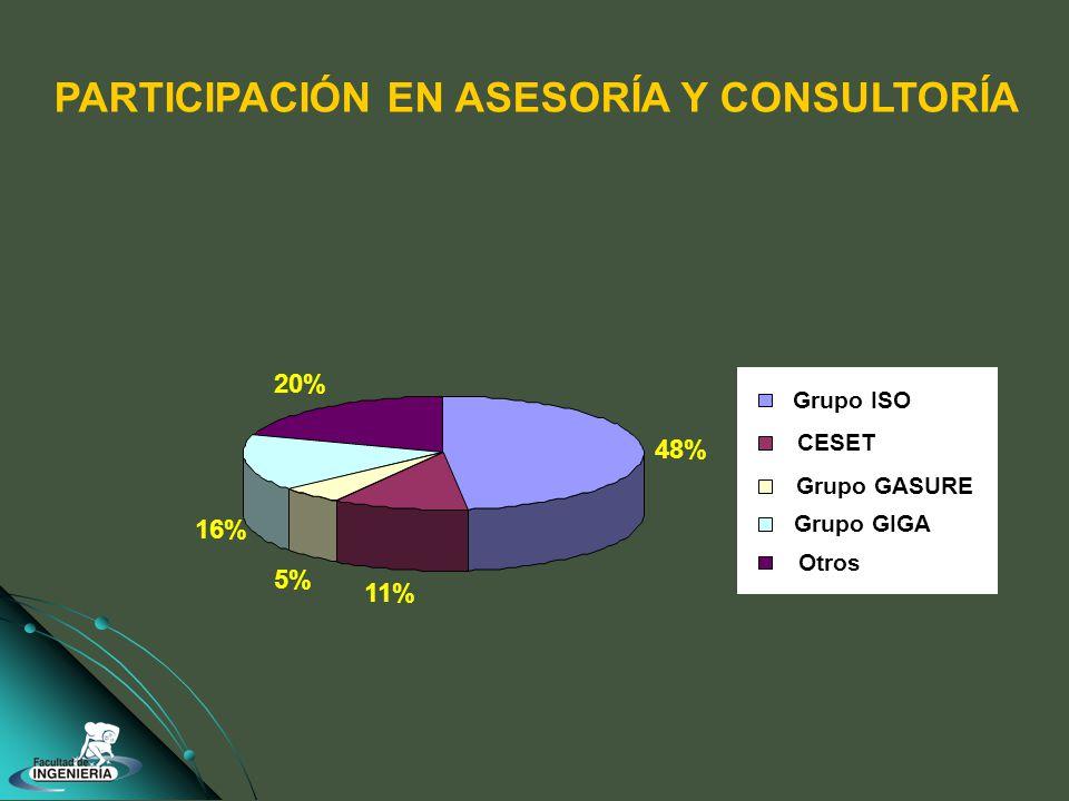 PARTICIPACIÓN EN ASESORÍA Y CONSULTORÍA 48% 11% 5% 16% 20% Grupo GASURE Grupo ISO CESET Grupo GIGA Otros