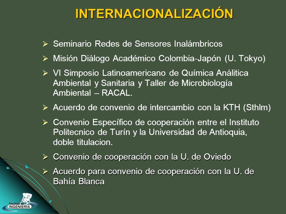 INTERNACIONALIZACIÓN Seminario Redes de Sensores Inalámbricos Misión Diálogo Académico Colombia-Japón (U.