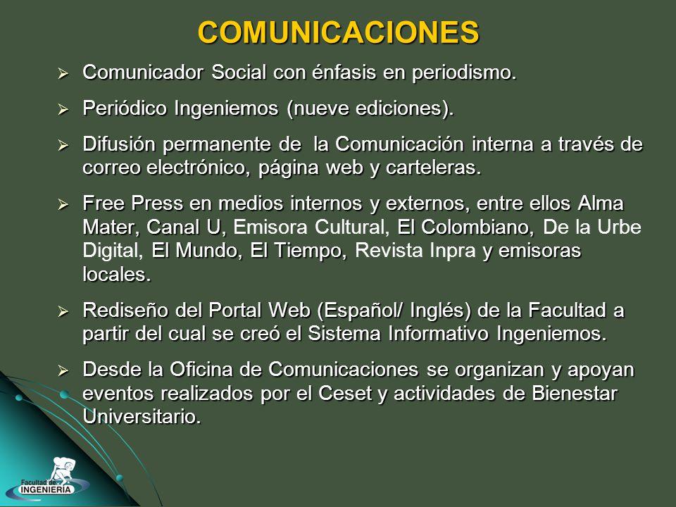 COMUNICACIONES Comunicador Social con énfasis en periodismo.