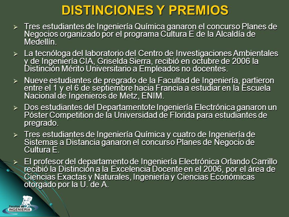 DISTINCIONES Y PREMIOS Tres estudiantes de Ingeniería Química ganaron el concurso Planes de Negocios organizado por el programa Cultura E de la Alcaldía de Medellín.