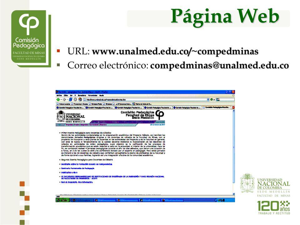 Página Web www.unalmed.edu.co/~compedminas URL: www.unalmed.edu.co/~compedminas compedminas@unalmed.edu.co Correo electrónico: compedminas@unalmed.edu.co