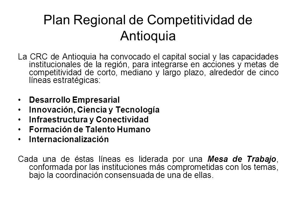 Plan Regional de Competitividad de Antioquia La CRC de Antioquia ha convocado el capital social y las capacidades institucionales de la región, para integrarse en acciones y metas de competitividad de corto, mediano y largo plazo, alrededor de cinco líneas estratégicas: Desarrollo Empresarial Innovación, Ciencia y Tecnología Infraestructura y Conectividad Formación de Talento Humano Internacionalización Cada una de éstas líneas es liderada por una Mesa de Trabajo, conformada por las instituciones más comprometidas con los temas, bajo la coordinación consensuada de una de ellas.