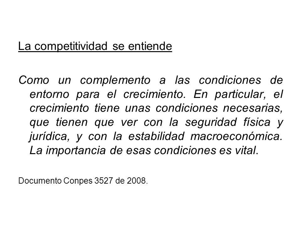 La competitividad se entiende Como un complemento a las condiciones de entorno para el crecimiento. En particular, el crecimiento tiene unas condicion