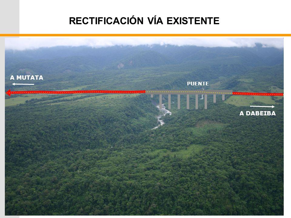 RECTIFICACIÓN VÍA EXISTENTE A MUTATA A DABEIBA PUENTE