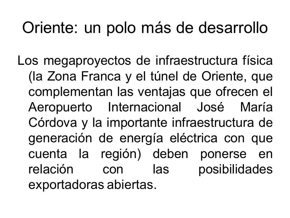 Oriente: un polo más de desarrollo Los megaproyectos de infraestructura física (la Zona Franca y el túnel de Oriente, que complementan las ventajas que ofrecen el Aeropuerto Internacional José María Córdova y la importante infraestructura de generación de energía eléctrica con que cuenta la región) deben ponerse en relación con las posibilidades exportadoras abiertas.