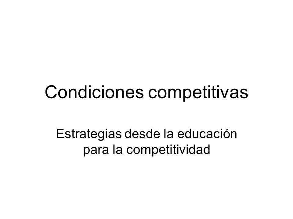 Condiciones competitivas Estrategias desde la educación para la competitividad