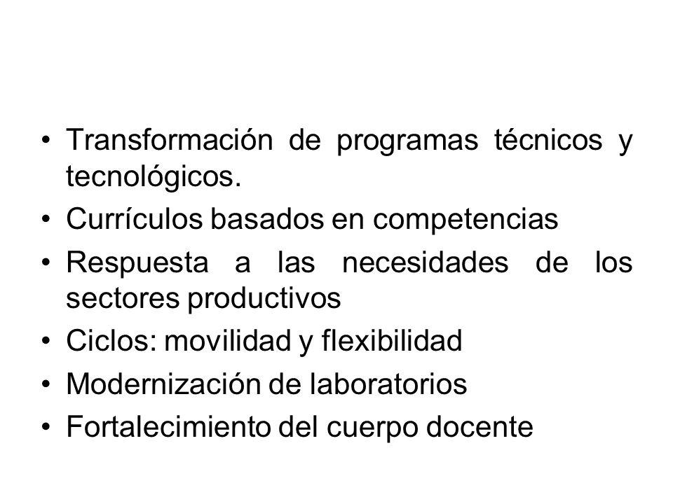 Transformación de programas técnicos y tecnológicos. Currículos basados en competencias Respuesta a las necesidades de los sectores productivos Ciclos
