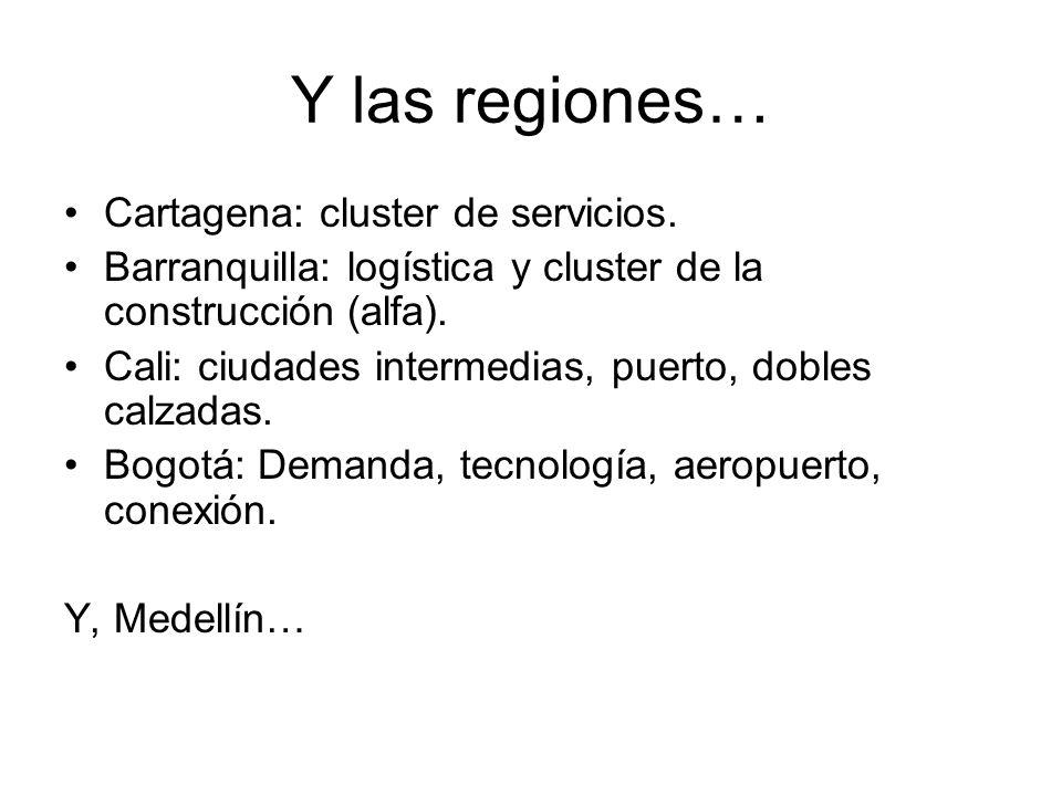 Y las regiones… Cartagena: cluster de servicios. Barranquilla: logística y cluster de la construcción (alfa). Cali: ciudades intermedias, puerto, dobl