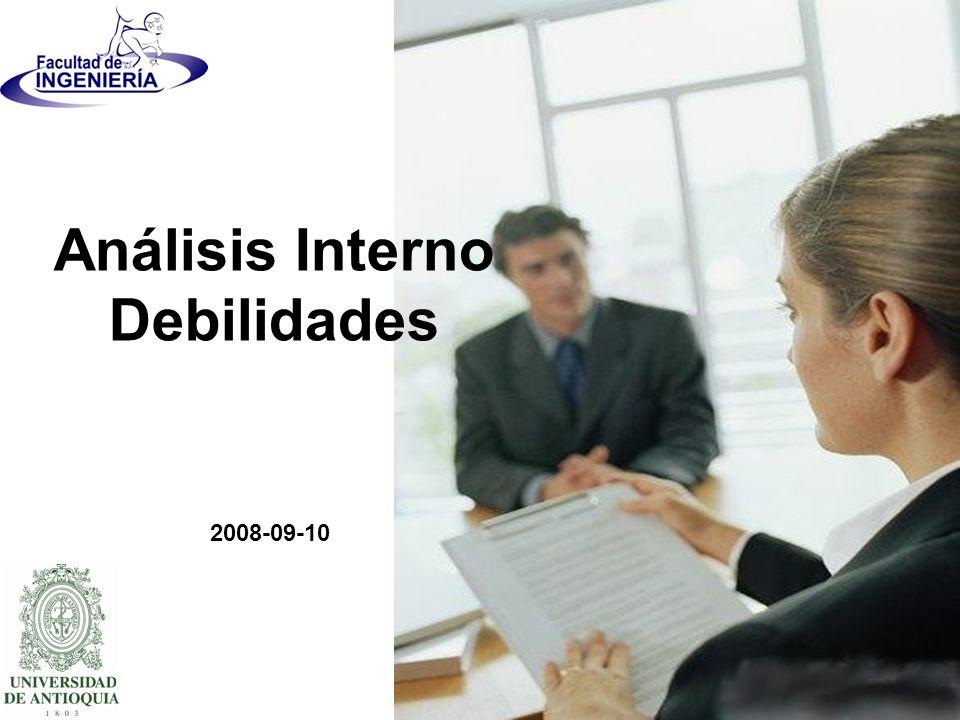 2008-09-10 Análisis Interno Debilidades