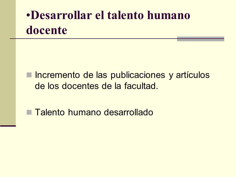 Desarrollar el talento humano docente Incremento de las publicaciones y artículos de los docentes de la facultad.