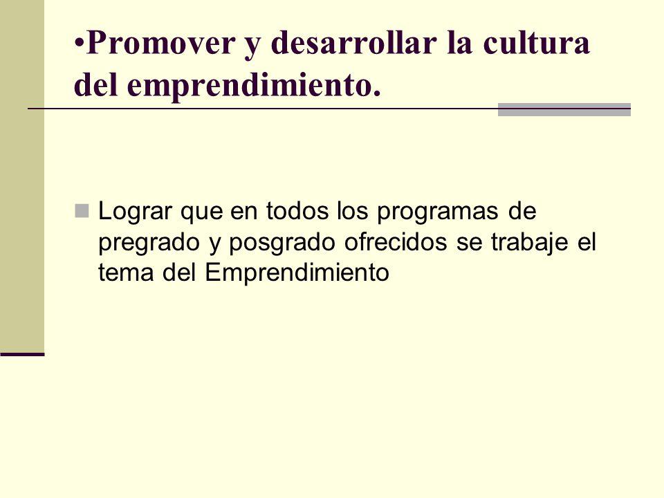Promover y desarrollar la cultura del emprendimiento.